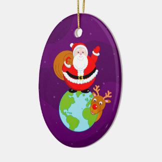 Ornamento De Cerâmica Desenhos animados do divertimento de Papai Noel