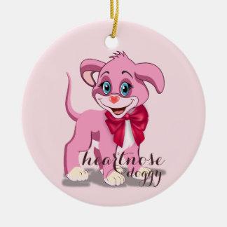 Ornamento De Cerâmica Desenhos animados do filhote de cachorro do rosa