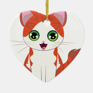 Ornamento De Cerâmica Desenhos animados do gatinho do gengibre