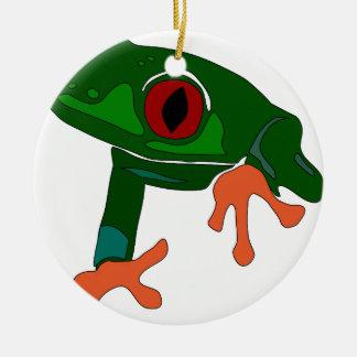 Ornamento De Cerâmica Desenhos animados do sapo verde