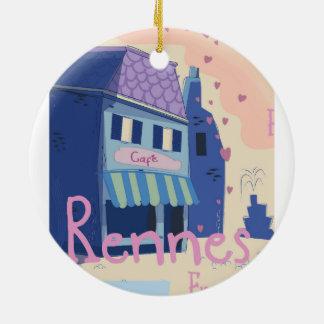 Ornamento De Cerâmica Desenhos animados do vintage de Rennes France