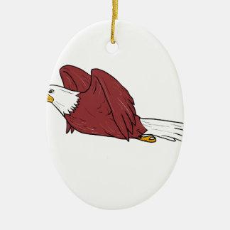 Ornamento De Cerâmica Desenhos animados do vôo da águia americana