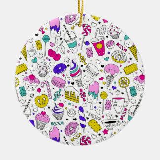 Ornamento De Cerâmica Desenhos animados doces do esboço do arco-íris