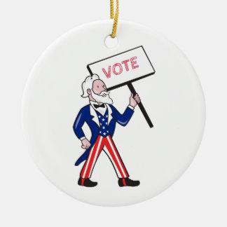 Ornamento De Cerâmica Desenhos animados eretos do voto do cartaz do tio