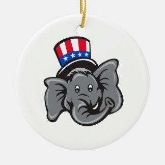 Ornamento De Cerâmica Desenhos animados republicanos do chapéu alto da
