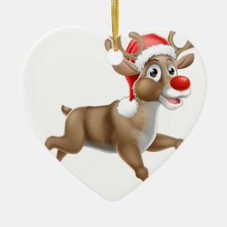 Ornamento De Cerâmica Desenhos animados Running do Natal da rena