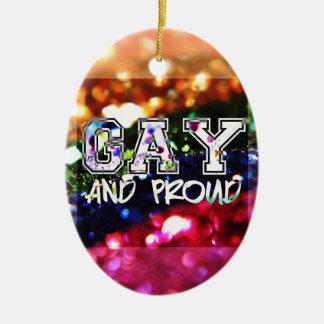 Ornamento De Cerâmica Design alegre e orgulhoso do arco-íris