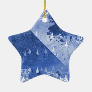 Ornamento De Cerâmica Design azul abstrato das gotas da chuva