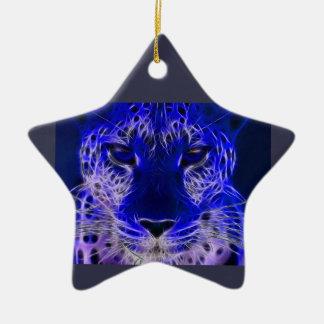 Ornamento De Cerâmica design azul do fractal da chita