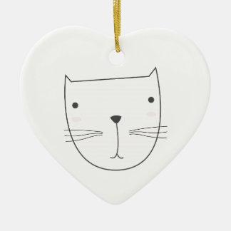 Ornamento De Cerâmica Design bonito do gatinho no branco