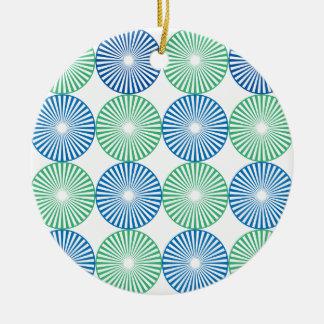 Ornamento De Cerâmica Design circular azul e verde