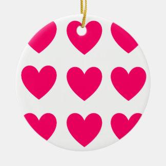 Ornamento De Cerâmica Design cor-de-rosa do coração