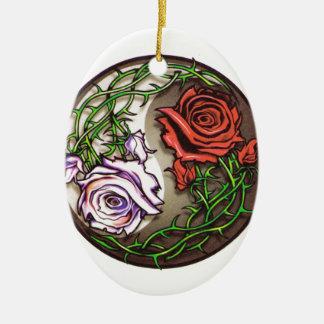 Ornamento De Cerâmica Design cor-de-rosa do tatuagem do yingyang
