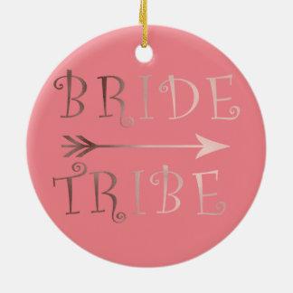 Ornamento De Cerâmica design cor-de-rosa do tribo da noiva da folha de