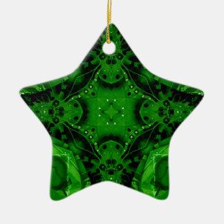 Ornamento De Cerâmica Design cruciforme profundo do verde esmeralda