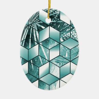 Ornamento De Cerâmica Design cúbico tropical das folhas de palmeira do