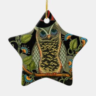 Ornamento De Cerâmica Design customizável da coruja sábia de