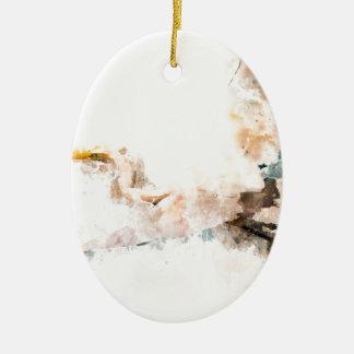 Ornamento De Cerâmica Design da aguarela, vôo do pássaro do guindaste