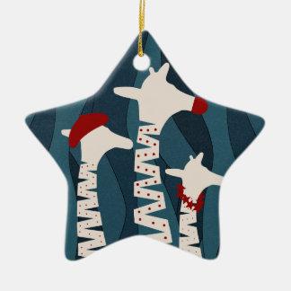 Ornamento De Cerâmica Design da época natalícia dos girafas