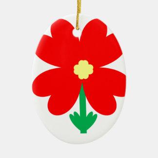 Ornamento De Cerâmica Design da flor do coração