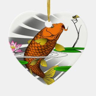 Ornamento De Cerâmica Design da lagoa de peixes de Koi do japonês