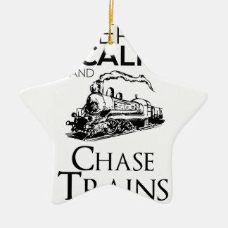 Ornamento De Cerâmica design da perseguição do trem bonito