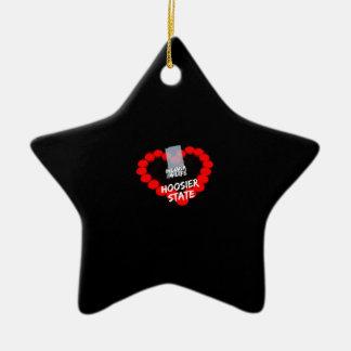 Ornamento De Cerâmica Design do coração da vela para o estado de Indiana