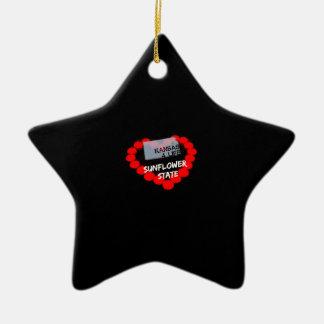 Ornamento De Cerâmica Design do coração da vela para o estado de Kansas