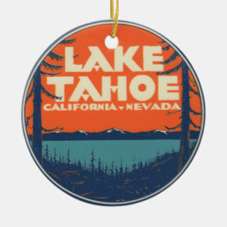 Ornamento De Cerâmica Design do decalque das viagens vintage de Lake