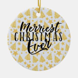 Ornamento De Cerâmica Design do feriado do Natal o mais alegre nunca