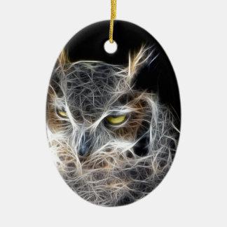 Ornamento De Cerâmica design do fractal da coruja