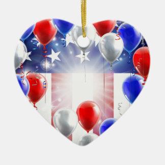 Ornamento De Cerâmica Design do fundo dos balões da bandeira americana