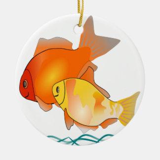 Ornamento De Cerâmica Design do impressão dos amigos do peixe dourado
