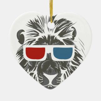 Ornamento De Cerâmica design do leão do vintage com gáss da cor