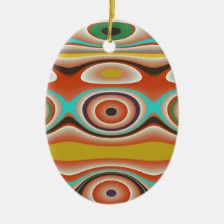 Ornamento De Cerâmica Design do Oval e do teste padrão do círculo em do