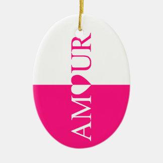 Ornamento De Cerâmica Design do rosa do amor do CASO AMOROSO