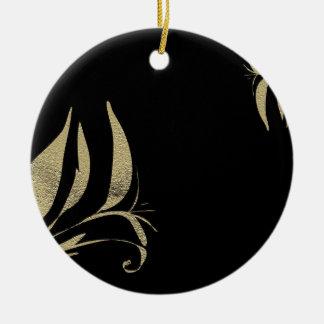 Ornamento De Cerâmica Design do teste padrão do Flourish do preto e do