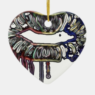 Ornamento De Cerâmica Design dos lábios do arco-íris