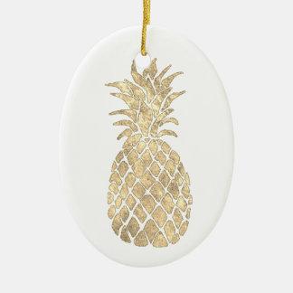 Ornamento De Cerâmica design dourado do abacaxi