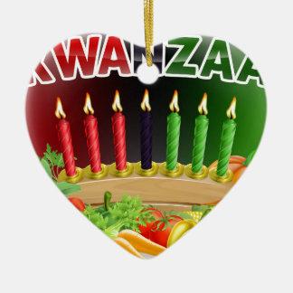 Ornamento De Cerâmica Design feliz da colheita de Kwanzaa primeiro
