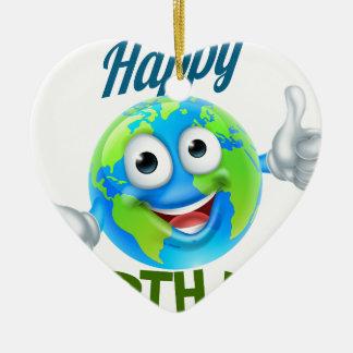 Ornamento De Cerâmica Design feliz da mascote do globo dos desenhos