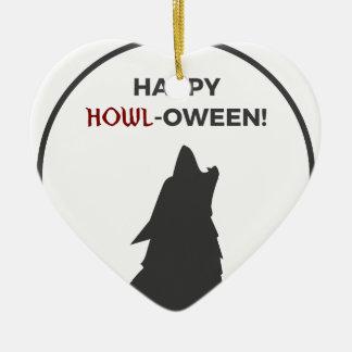 Ornamento De Cerâmica Design feliz do Dia das Bruxas do homem-lobo do