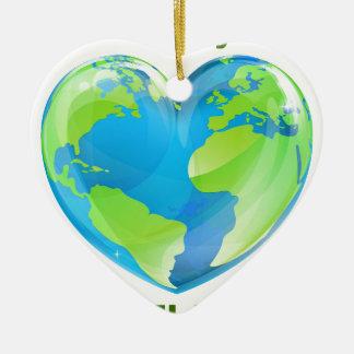 Ornamento De Cerâmica Design feliz do globo do coração do Dia da Terra