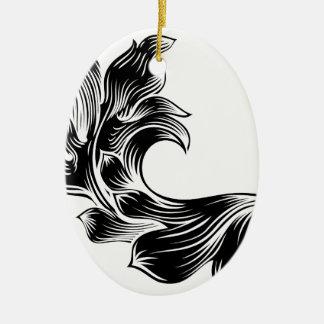 Ornamento De Cerâmica Design filigrana floral heráldico do rolo do teste