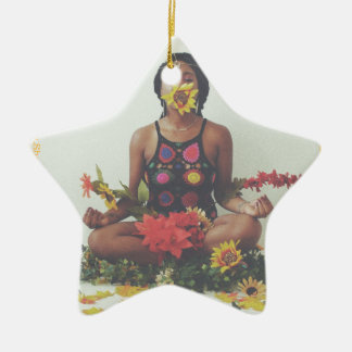 Ornamento De Cerâmica Design floral da meditação de Sha Davis