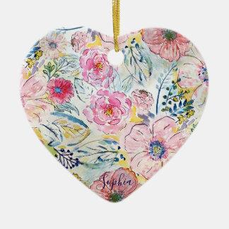 Ornamento De Cerâmica Design floral da pintura da mão da aguarela