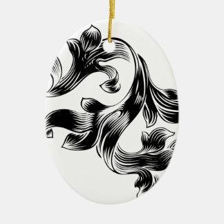 Ornamento De Cerâmica Design floral heráldico filigrana do rolo do teste