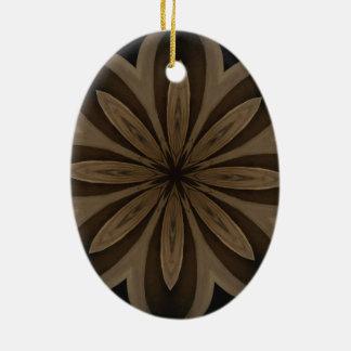 Ornamento De Cerâmica Design floral rústico do caleidoscópio de Brown