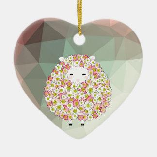 Ornamento De Cerâmica Design florido dos carneiros do tom Pastel