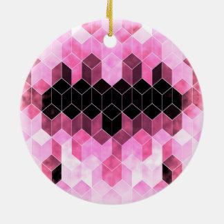 Ornamento De Cerâmica Design geométrico cor-de-rosa & preto intenso